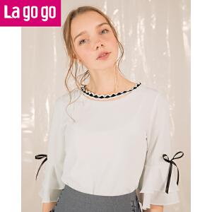 【秒杀价77.7】Lagogo2019夏季新款圆领百搭韩版上衣白色蝴蝶结绑带五分袖T恤女HATT433Y42