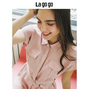【清仓3折价149.7】Lagogo/拉谷谷2019年夏季新款时尚学院风少女粉连衣裙HALL334M38