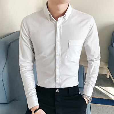 新款秋季衬衣韩版修身男士纯色男装纯棉休闲白色长袖衬衫