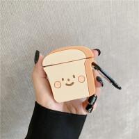 ins卡通可爱吐司面包造型苹果airpods耳机套个性全包AirPods1/2代通用无线蓝牙硅胶耳机 表情吐司耳机包+