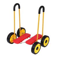 儿童平衡脚踏踩踏车四轮滑板行扭扭车幼儿园感统教学健身3岁玩具 红色大车轮 升级款