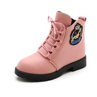 女童靴子2018秋冬新款�和�中筒靴加�q�R丁靴�n版潮流����公主短靴