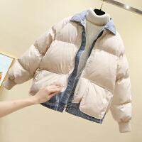 假两件棉衣女短款冬装新款宽松面包服牛仔拼接羽绒外套潮