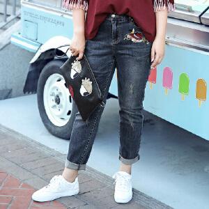 MSSHE加大码女装2017新款秋修身牛仔裤微胖妹妹长裤M1710351