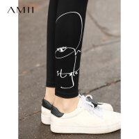 【到手价:61元】Amii极简超火时尚黑色打底裤女外穿2019新款修身印花九分裤子