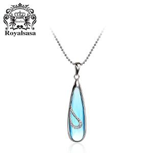 皇家莎莎S925银项链颈链锁骨链蓝色仿水晶吊坠首饰一抹清澜赠颈链
