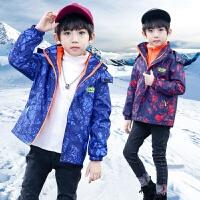 男童外套中大童春秋装儿童可拆卸三合一运动冲锋衣冬