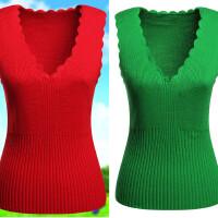 中老年女装V领针织保暖内衣 羊毛背心加厚短款春秋羊绒衫毛衣毛线