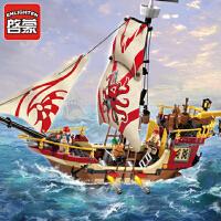 启蒙拼装积木玩具新品海盗船拼插小颗粒模型男孩玩具海盗系列1311 儿童礼物 拼装积木玩具 368块颗粒