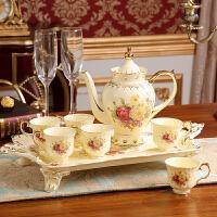 �W式陶瓷咖啡具套�b英式下午花茶�t茶杯茶具托�P高�n�Y婚�Y物��用 8件