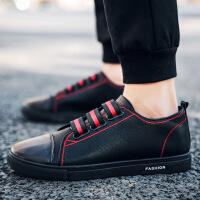 牛仔皮鞋男夏季社会小伙青年没鞋带休闲皮鞋配小脚牛仔裤懒人薄底运动板鞋xqq