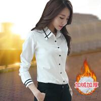 白衬衫女长袖2018春装新款韩版雪纺上衣秋装职业大码加绒衬衣yly