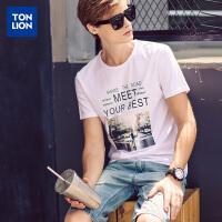 【2件1.5折】唐狮男士短袖T恤新款字母印花T恤衫牌青年半袖衫夏季