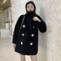 2020秋冬新款西�b�I�p排扣毛呢外套��松中�L款�L袖加厚呢大衣女�b