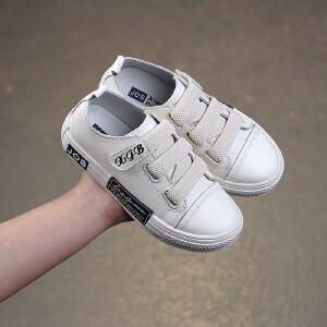 2019年春季新款黑白百搭款休闲韩版男女童真皮板鞋 学生鞋小白鞋