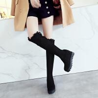 马靴冬季内增高长靴平底高筒女靴子长筒靴女士弹力靴过膝靴女冬靴SN9852 黑色【厚绒】
