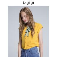 【清仓3折价89.7】Lagogo/拉谷谷2019年夏季新款时尚圆领系带无袖衬衫HACC134F21