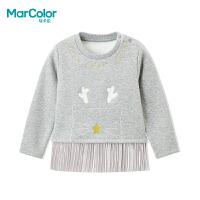 【1件2折】马卡乐冬款女宝宝下摆裙设个性印花长袖卫衣