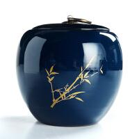 霁蓝釉茶叶罐大号功夫茶具陶瓷茶叶罐祭蓝密封罐醒茶器茶仓
