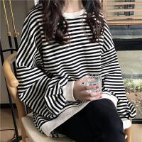 卫衣女秋季港味复古chic简约休闲黑白条纹宽松长袖套头外套上衣