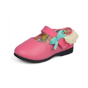 比比我女童鞋2017秋季新款皮鞋蝴蝶结可爱蕾丝花边公主鞋软底韩版单鞋