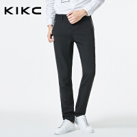 kikc休闲裤男2017新款青少年休闲时尚黑色商务潮流低腰小脚长裤男