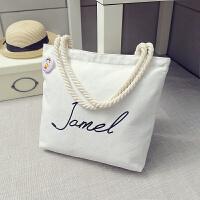 韩版文艺帆布包学生单肩包手提包女包字母帆布袋 白色 欢乐颂同款白色