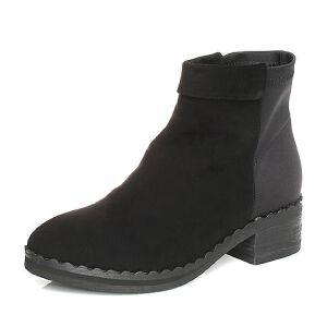 Teenmix/天美意2017冬羊绒皮/纺织品简约优雅方跟女短靴D3305DD7