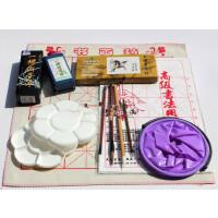 马利牌12色中国画颜料+毛笔+书画宣纸+毛毡+墨汁初学国画工具套装