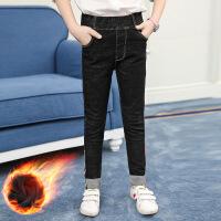 女童裤子加绒牛仔裤保暖棉裤童装新款儿童女孩小学生冬季弹力长裤