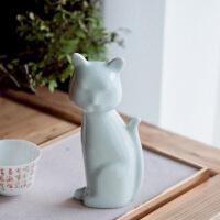 景德镇陶瓷小猫创意摆件客厅现代简约家居工艺品可爱日系原创手作 青釉