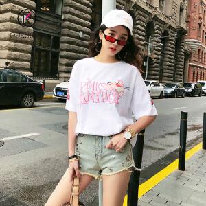 欧若珂   2018夏季新款韩版粉红豹卡通印花宽松大码中长款圆领短袖T恤女