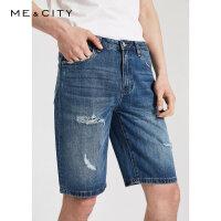 【5.16-5.17日抢购价:69.9】MECITY男装夏季新款时尚破洞牛仔中裤男士直筒牛仔裤男
