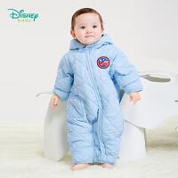【秒杀价:89】迪士尼Disney童装 婴儿连帽夹棉连体衣冬季新品男女宝宝保暖加厚爬服 194L845