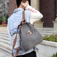 韩版双肩包男休闲学生书包时尚潮流复古帆布包旅游女包学院风背包