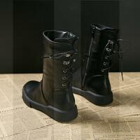 中筒靴女2018秋冬新款百搭平底短靴加绒马丁靴子女复古低跟单靴潮SN1412 黑色 单里