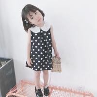 夏季女童无袖雪纺连衣裙黑色圆点宝宝娃娃领裙子A字裙1-6岁