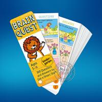 英文原版Brain Quest Kindergarten 5-6岁 儿童智力卡片盒装书 学前小学生全科练习获奖系列 智