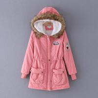 355 冬季新款贴布装饰纯色修身中长款连帽女式棉衣
