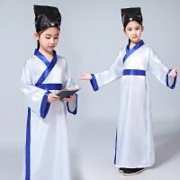 新款国学服男童小书生古装儿童汉服小药童书童演出服儿童摄影服装 白色 白蓝边