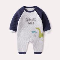 婴儿夹棉连体衣0冬季宝宝外出哈衣3个月新生儿衣服网红婴幼儿冬装