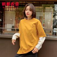 韩都衣舍2020春装新款女装韩版显瘦假两件长袖T恤NG10075茵
