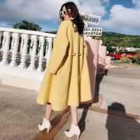 2018秋冬澳洲羊毛双面呢羊绒大衣女系带收腰裙摆外套风衣 柠檬黄