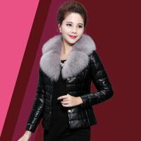 海宁2018绵羊皮女士 羽绒服女短款修身狐狸毛冬皮草外套小皮衣 黑色
