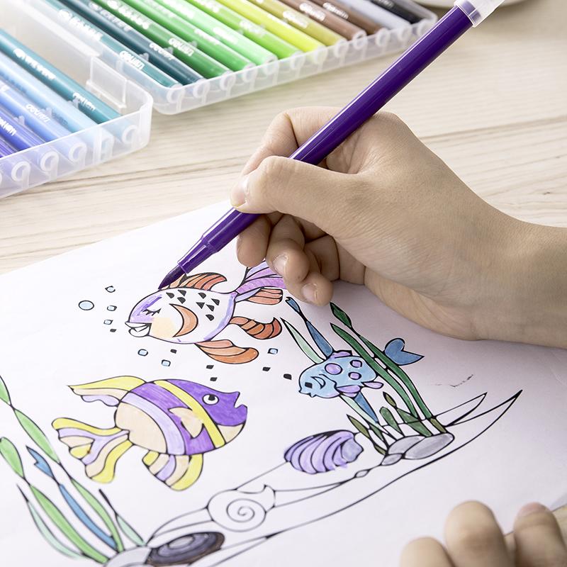 得力软头水彩笔36色48色套装可水洗彩笔儿童小学生画笔幼儿园