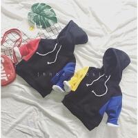 韩版童装加绒加厚卫衣冬装新款男女撞色拼接袖连帽套头衫A5-A5