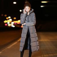 棉衣女新款韩版冬季中长款过膝连帽加厚修身棉袄大码时尚外套 M 80-105斤
