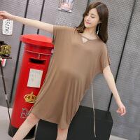 孕妇连衣裙夏季新款时尚孕妇裙子柔软垂顺孕妇短袖上衣宽松T恤0784