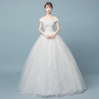 一字肩齐地婚纱礼服2018新款新娘结婚韩式简约显瘦白色公主森系女