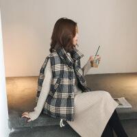 №【2019新款】冬天年轻人穿的格子羽绒棉马甲女装背心短款宽松外套坎肩秋冬款套装